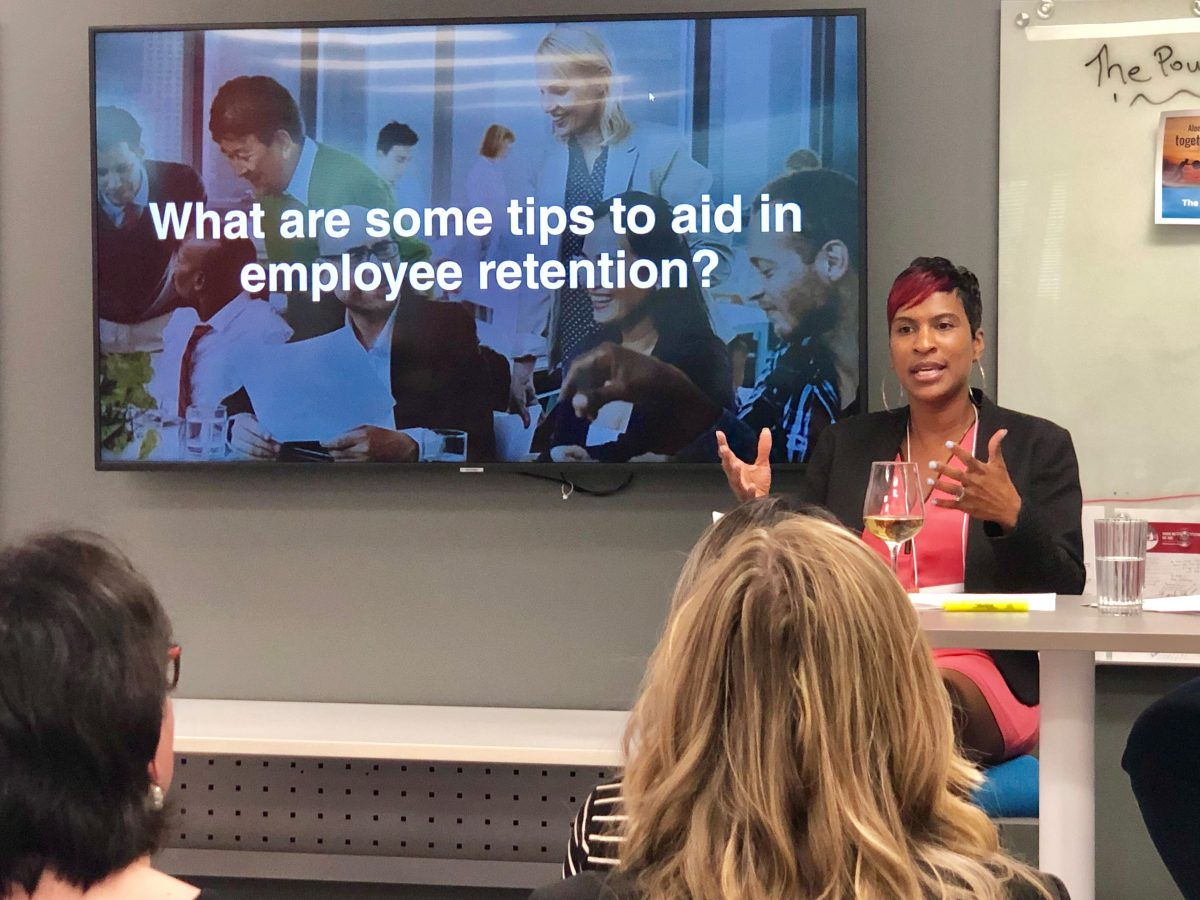 HR meets happy hour facilitator Denise Mahoney giving some tips on aiding employee retention