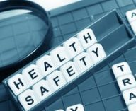 Health and safety concept with letters and related keywords